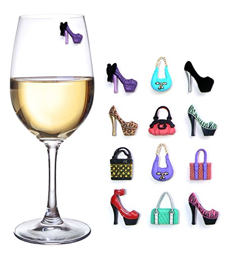 High Heels & Purses Magnetic Wine Charms and Drink Markers - Set of 12 - Great Girls Night Out Wine Gift for Her