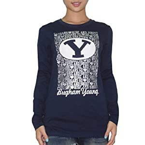 NCAA BRIGHAM YOUNG COUGARS Ladies Crew-Neck Long Sleeve T Shirt Tee by NCAA