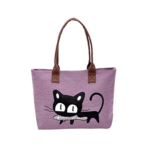 Women girl Bag, Gillberry New Women Shoulder Canvas Bag Cat Bag Office Lunch Bag (Purple)