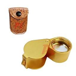 MATT GOLD 10x Magnification Diamond Loupe Loop 18mm Magnifier Glass Jewelers