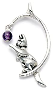 Sterling Silver Cat Playing w/Amethyst Bead Pendant