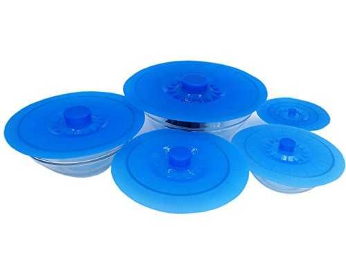 Silicone Suction Lids, Set of 5 Reusable Food Grade Suction Seal Covers for Bowls, Pots, Cups Safe and Durable (Mud Pot Cookware compare prices)