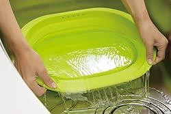スキッとシリコーン 小判型洗い桶 グリーン SR-4882