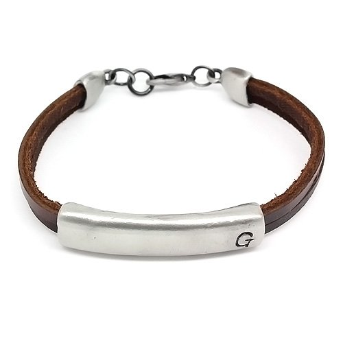 Top Value Jewelry - Unisex Brown Leather 2 Band Bracelet with Stylish Silver Plated