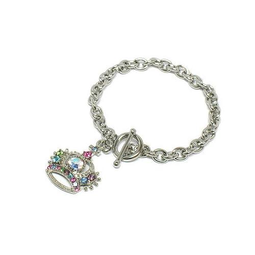 Multi colored Crystal Crown Charm Juicy Look Toggle Bracelet