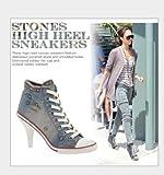 Ghope Women Denim Canvas High Heels Sneakers Trainers High Top Ankle Wedge Sneaker Rivet Sneakers