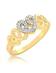 IskiUski True Love 925 Sterling Silver 14kt Gold Plated Round Cubic Zirconia Ring For Women
