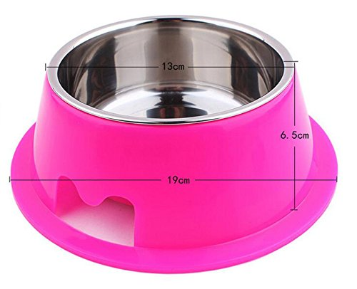LPET Dog Bowls Removable Stainless Steel Pet Food & Water Feeder for Doggies and Cats (Red)