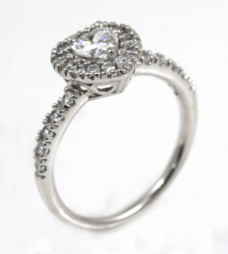 Sterling Silver CZ Heart Cut Side Stones Engagement Ring size 7