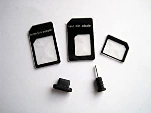 Nano to Micro/normal SIM Card Adapter for Apple Iphone 5 4s 4g 3gs 3g, with Two Dust Plug