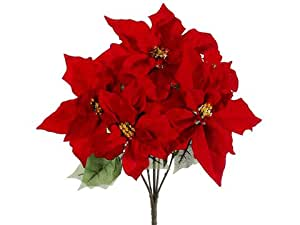 "19"" Water-Resistant Poinsettia Bush x5 Red (Pack of 12)"