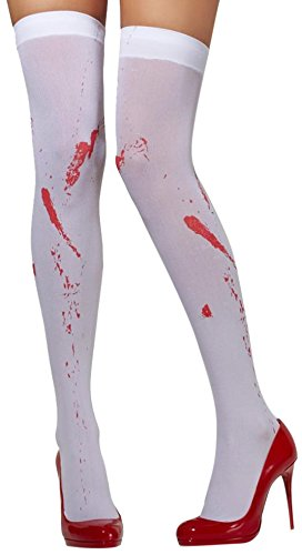 Fever Women's Opaque Hold-Ups Blood Stain Print In Display Box, White, One Size - 1