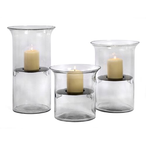Set Of 3 Minimalist Glass And Suspended Iron Votive Candle Holders front-1005611