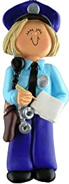 3209 Police Officer Female Blonde Personalized Ornament