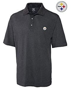 Pittsburgh Steelers Mens Drytec Championship Polo Charcoal by Cutter & Buck