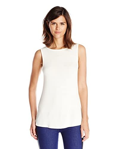 Three Dots Women's Fitted Shell Crew with Faux Leather Trim