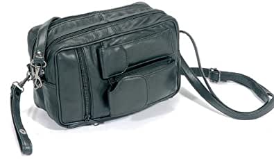 ECHTLEDER Herrentasche Gelenktasche Umhängetasche Tasche schwarz 09137 Maße: ca. 22x14x8 cm