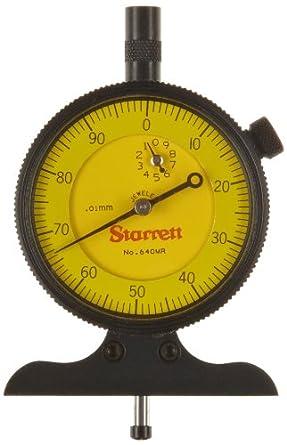 Starrett 640M Series Dial Depth Gauges, Indicator Type, Metric, 0-10mm Range