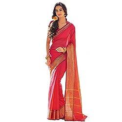Lemoda Designer Red Lace Border Work Cotton Saree MMUKE55804773210-70000042