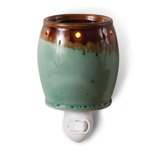 Brown And Green Plug-In Ceramic Stoneware Electric Tart Candle Warmer