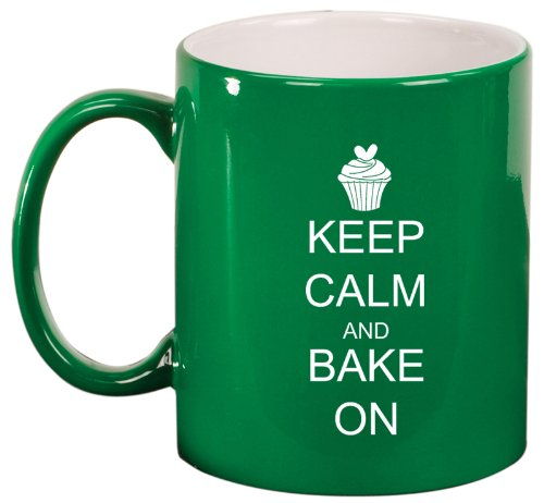 Green Ceramic Coffee Tea Mug Keep Calm And Bake On Cupcake