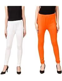 PRASITA Fashion Women's Cotton Lycra Churidar Leggings Pack Of 2(WHITE/ORANGE)
