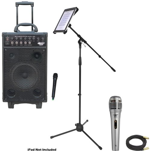 Pyle Speaker, Mic, Cable And Stand Package - Pwma1050 800 Watt Vhf Wireless Battery Powered Pa System W/Echo/Ipod/Mp3 Input Jack - Pdmik1 Professional Moving Coil Dynamic Handheld Microphone - Pmkspad1 Multimedia Microphone Stand With Adapter For Ipad 2 (