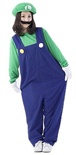 AGUNI®大人 スーパーマリオ コスチューム オーバーオール つなぎ コスプレ衣装 クリスマス ハロウィン (Mサイズ, ルイージ)