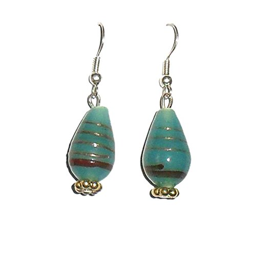Beadworks Beadworks Beaded Earrings - Teal Colour Lampwork Beaded Earrings (Multicolor)