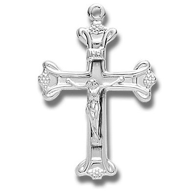 Sterling Silver Fancy Crucifix Cross with 20