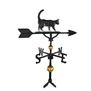 Montague Metal Products 32-Inch Deluxe Weathervane with Color Cat Ornament