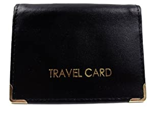 Leather Bus Pass / Travel / Id Card In 4 Colours - Black