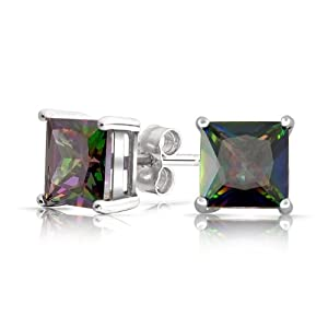 Bling Jewelry Sterling Silver Square Rainbow Mystic Topaz Color CZ Mens Stud Earrings 6mm