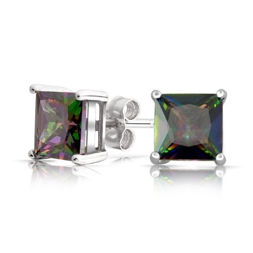 Bling Jewelry Sterling Silver Square Rainbow Mystic Topaz Color CZ Mens Stud Earrings - 7mm