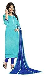 Jiya Presents Bhagalpuri Dress Material(Sky Blue,Blue)
