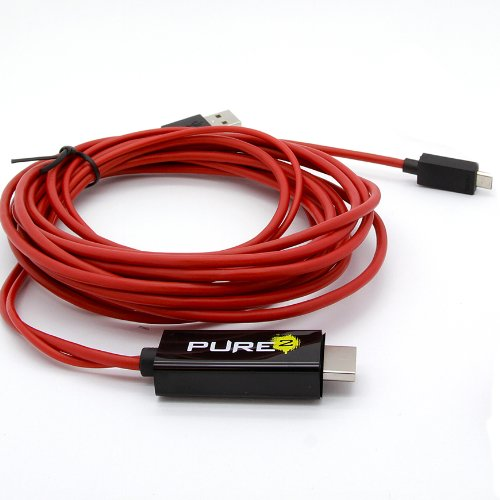 Pure² - 4 Meter flexibles Full HD MHL Adapter Kabel Micro USB auf HDMI 1080p HDTV - 8-Kanal digital Audio 7.1- Adapter wie EIA2UHUN - passend für HTC ONE - Samsung Galaxy Note N7000 / i9220 / Galaxy S2 i9100 / LTE / Samsung S2 Plus I9105P / Galaxy Nexus i9250 / i997 Infuse 4G / HTC Flyer / HTC Evo 3D / HTC ONE S & X / Sony Xperia