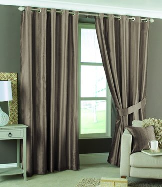 Dreams 'n' Drapes Luxor Eyelet Lined Curtains, Coffee, 90x72 inch