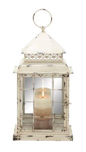 Deco 79 Metal Glass Lantern, 10 by 22-Inch, Brown