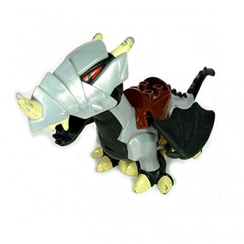 1 x Lego Duplo Tier Drache schwarz silber grau