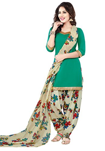 Salwar Studio Women\'s Sea Green & Grey Synthetic Floral Printed Unstitched Patiyala Suit