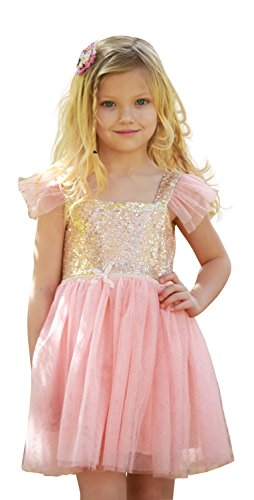 Gold and Pink Gauze Gamisole Layered Tutu Dress Girls Valentines Dress