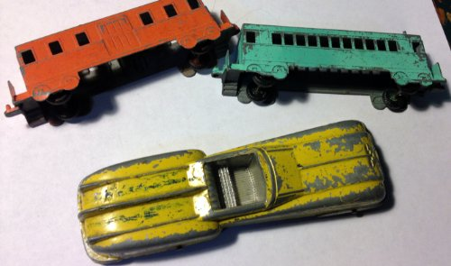 2 Midgetoy Train Cars and 1 Unmarked Car - 1