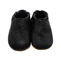 Mejale Baby Boy Shoes Soft Soled Leather Moccasins Anti-skid Infant Toddler Prewalker(black,6-12 months)
