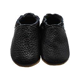 Mejale Baby Boy Shoes Soft Soled Leather Moccasins Anti-skid Infant Toddler Prewalker(black,12-18 months)