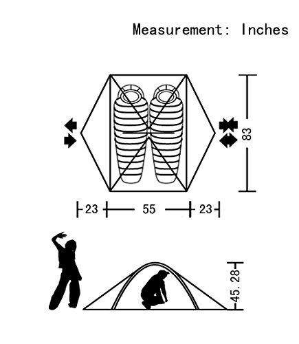 GEERTOP® 2-Personen 4-Jahreszeiten Aluminiumstangen Wasserdichten Camping Kuppelzelt – 140 x 210 x 115 cm – Ideal für Camping, Beim Klettern und Jagen - 7