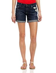 7 For All Mankind Women's Mid Roll Up Short in Rich Dark Destroyed