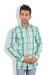 Maclavaro Mens Casual Shirt_9blugrnchks_Green_XL
