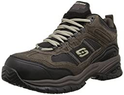 Skechers for Work Men\'s Soft Stride Canopy Composite Work Shoe,Brown Suede,9.5 XW US