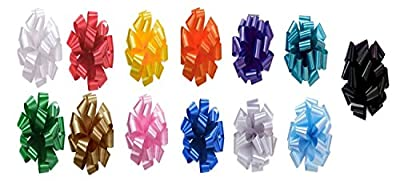 "Bows Gift Assorted Set of 50 Pom Pom, Assortment of Pull Bows (NO STRINGS), 5"" Wide Satin in Assortments of Colors: Red, White, Green, Gold, Silver, Pink, Orange, Yellow, Purple, Teal, Light Blue, Black and Royal Blue"