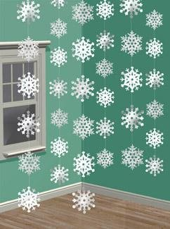 Hanging Strings of Snowflakes Christmas Decorations x 6 - 1